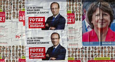 Imágenes de los carteles electorales de los dos candidatos. | Afp