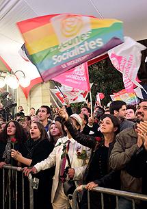 Alegría en la sede socialista. | Afp