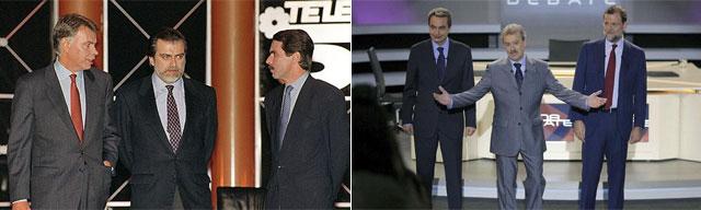 Gónzalez y Aznar en 1993 y Zapatero y Rajoy en 2008, en los dos únicos debates electorales hasta la fecha.   EL MUNDO