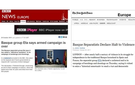 La noticia en la BBC (izda.) y en el 'New York Times' (dcha.)