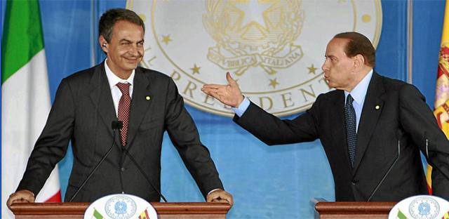 El presidente español, Rodríguez Zapatero, junto al primer ministro italiano Silvio Berlusconi.   Ap