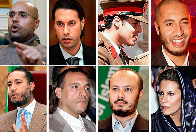 Arriba: Saif al-Islam (huido/detenido), Mutasim, Jamis, Saif al Arab (muertos). Abajo:Saadi, Hanibal, Mohamed, Aisha (huidos)