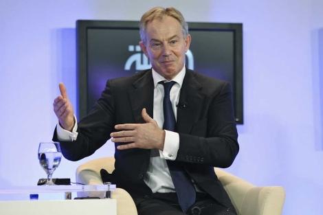 El ex primer ministro británico Tony Blair, durante un debate en Jordania. | Reuters