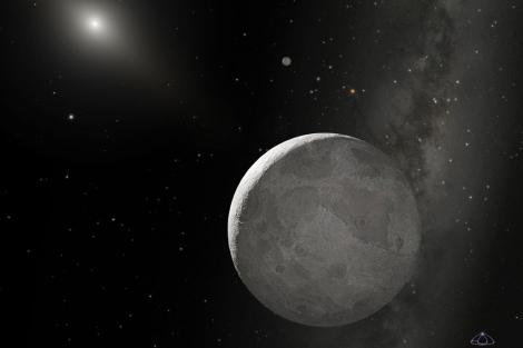 Recreación artística de Eris y su pequeño satélite Disnomia. | A.Schaller for STScI.