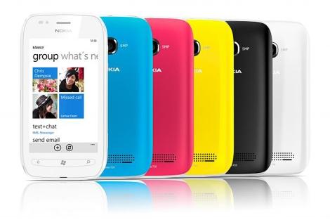 Imagen de varios Nokia Lumia 710 en diferentes colores.