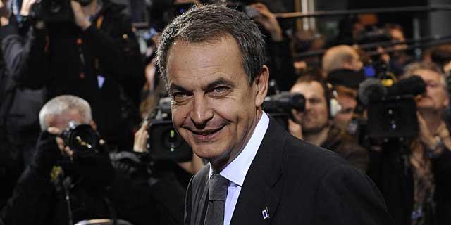 Zapatero, a su llegada a la cumbre de la Unión Europea.   Afp