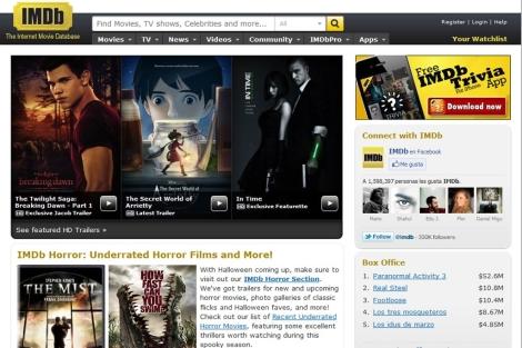 Portada de la página web cinematográfica IMDb. | ELMUNDO.es