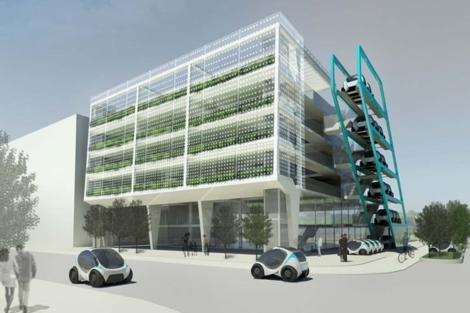 Los coches eléctricos se aparcarán en vertical junto a los edificios. | EMTECH