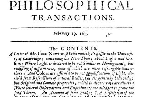 El 'paper' que recoge la Teoría sobre la luz y los colores de Isaac Newton.