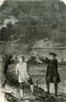Experimento del rayo y la cometa de Benjamin Franklin, en 1752.