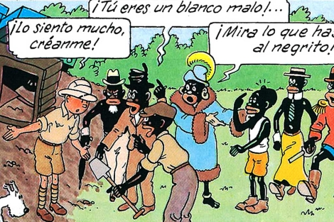 Una viñeta del álbum 'Tintín en el Congo'.