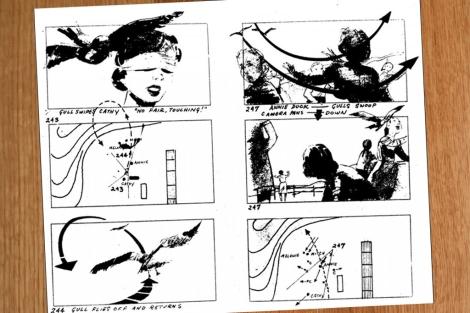 Detalle del 'storyboard' de 'Los pájaros'.