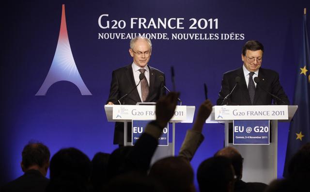 El presidente del Consejo Europeo, Herman Van Rompuy (izq.), y el presidente de la Comisión Europea, Jose Manuel Durao Barroso. | AP