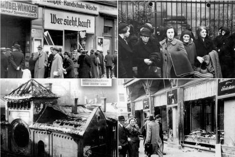 Cuatro fotografías tomadas tras la noche del 9 de noviembre de 1939.