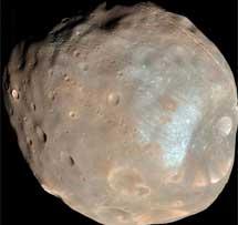Fobos, fotografiada por una sonda de la NASA.