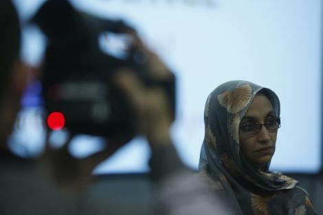 Aminetu Haidar, durante una rueda de prensa.   Sergio González