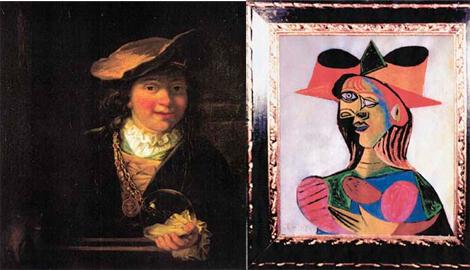 Dos de las obras robadas: a la izqda., un 'Rembrandt'; a la dcha., un 'Picasso'.