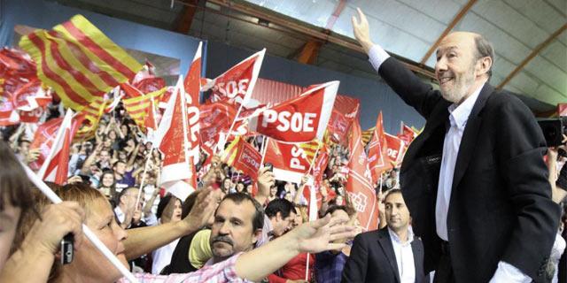 Alfredo Pérez Rubalcaba en el mitin ofrecido ayer en Zaragoza. | Efe