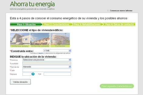 Captura de pantalla del cuestionario de Ahorratuenergia.es. | Ahorratuenergia.es