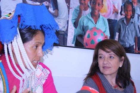 Roxana Quispe y Rosa Mujica durante la rueda de prensa. | María Cappa