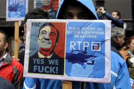 Protestas de los trabajadores del ente   Foto: Eloy Alonso