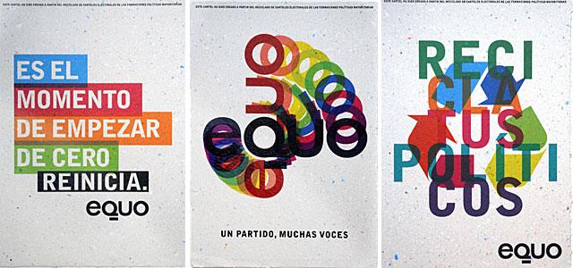 Tres de los carteles reciclados. | ELMUNDO.es