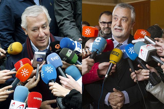 Javier Arenas y José Antonio Griñán votando en los comicios.   Jesús Morón