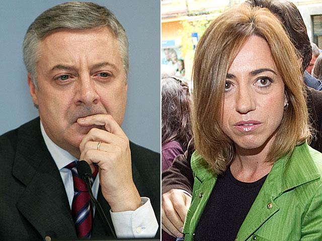 José Blanco (ministro de Fomento y portavoz) y Carme Chacón (Defensa), ayer y hoy. | Efe y Begoña Rivas