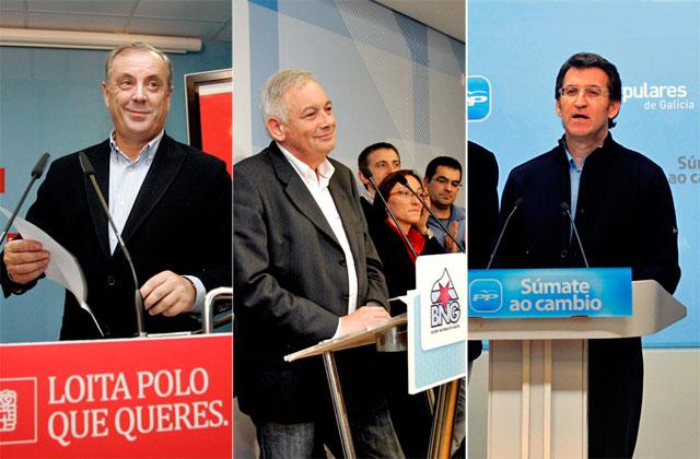 Pachi Vázquez, Guillerme Vázquez y Núñez Feijóo, tras el recuento. | Efe