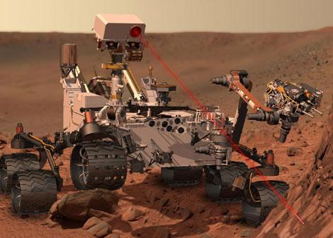 Recreación artística del 'rover' 'Curiosity sobre la superficie marciana. | NASA