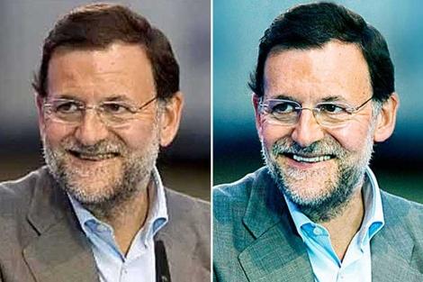 La imagen de Rajoy, antes (izqda.) y después (dcha.) del retoque.