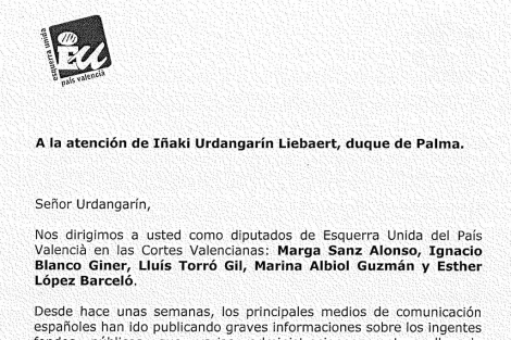 Fragmento de la carta remitida por EUPV a Urdangarin.
