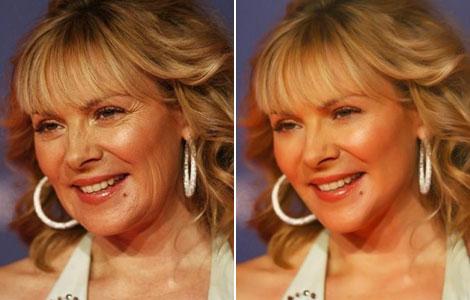 Fotografías de la actriz Kim Cattrall, antes (i) y después (d) de ser retocadas.   PNAS