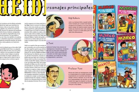 Detalles de tres páginas de interior del libro.