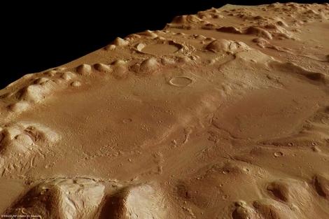 La cordillera de Phlegra Montes de Marte, que oculta gran cantidad de agua.   ESA