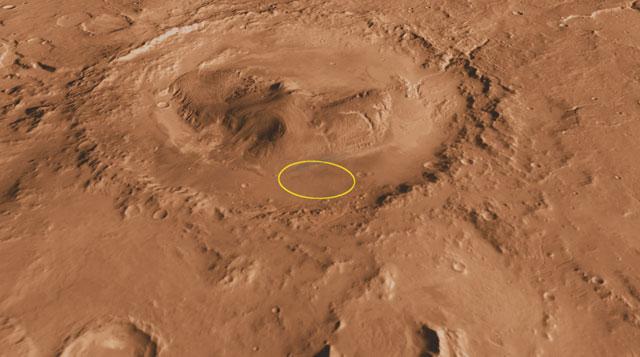 El lugar de aterrizaje del 'Curiosity' en el cráter Gale | NASA, JPL