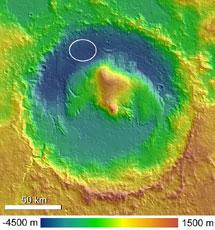 El cráter Gale observado por el 'Mars Express'.