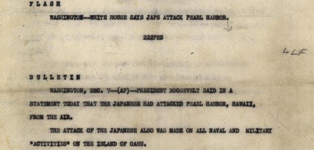 Imagen de una parte del documento original de AP del 7 de diciembre de 1941.