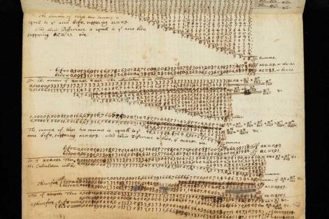 Cálculos realizados por la mano de Isaac Newton. | Universidad de Cambridge