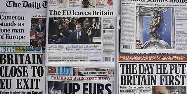 Las portadas de la prensa británica de hoy recogen el aislamiento del Reino Unido.   Ap
