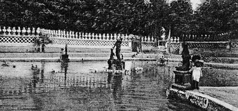 Imagen de época del desaparecido estanque de los Papas.