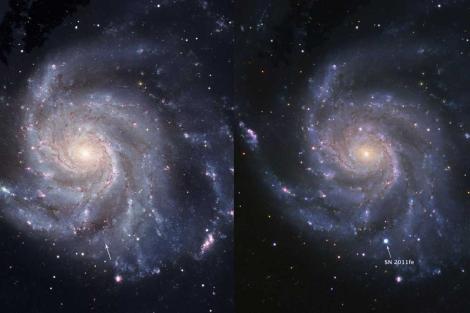 La galaxia Messier 101, antes y después de la explosión de la supernova. | Nature