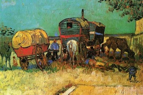 Fragmento del 'Campamento de gitanos y caravanas', de Vincent Van Gogh.