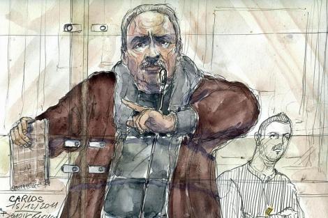 Dibujo del terrorista durante el juicio. | Ap