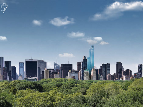 Así será el nuevo 'skyline' neoyorquino tras la construcción del 'One57'. | One57.com