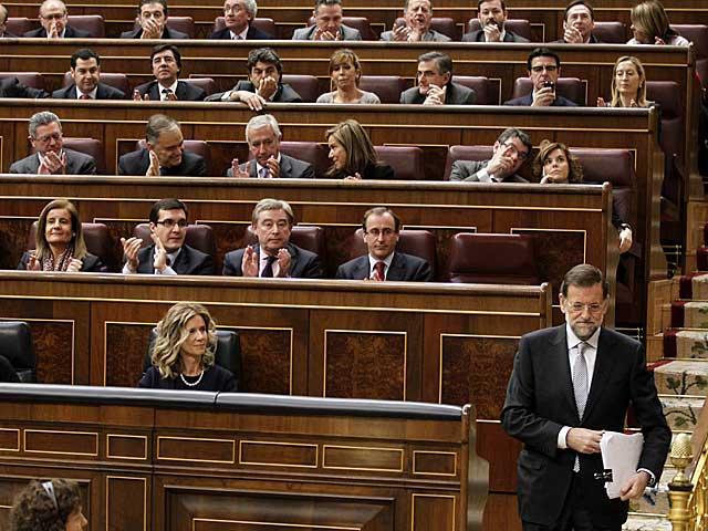 Mariano Rajoy, se dirige a la tribuna del Congreso. | J. Aymá.