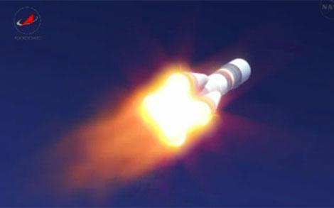 La nave Soyuz TMA-03M, durante el despegue desde Baikonur. | NASA
