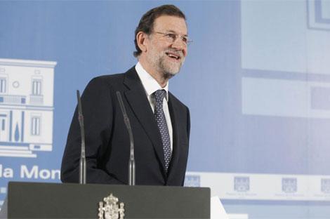 Mariano Rajoy, en su primera comparecencia en Moncloa como presidente. (Foto: J. Aymá)