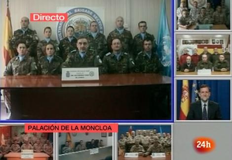 Videoconferencia de Rajoy con los militares de las misiones en el exterior. | Imagen de tve