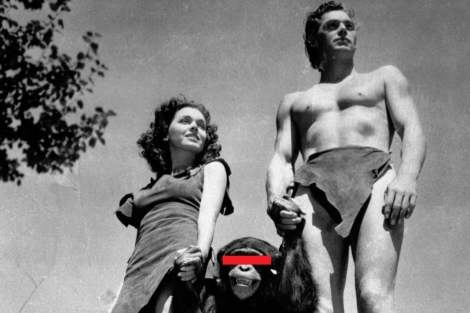 Maureen O'Sullivan, Johnny Weissmuller y la mona Chita, en 1932.